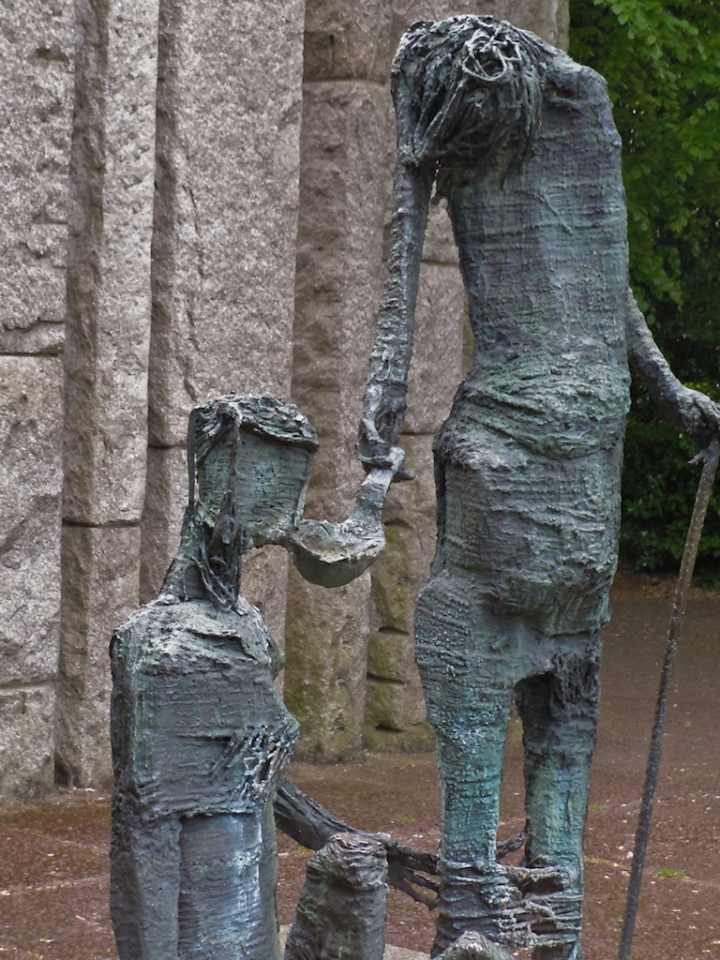 Edward Delaney's famine memorial at the northeast corner of St. Stephen's Green in Dublin Ireland
